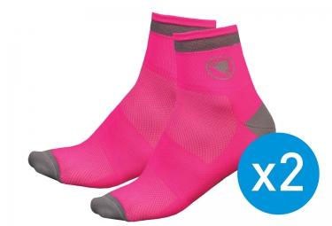 pack de 2 paires de chaussettes endura luminite rose femme