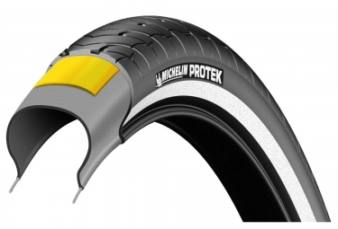 Pneu urbain michelin protek 700mm tubetype tringle rigide renfort anti crevaison 1mm ebike ready 35 mm
