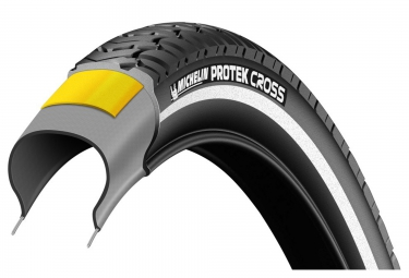 pneu urbain michelin protek cross 700mm tubetype rigide renfort anti crevaison 1mm e