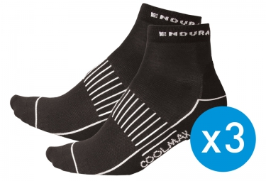 ENDURA Pack of 3 Pairs of Socks COOLMAX RACE II Black