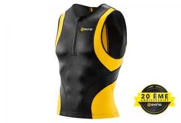 SKINS TOP Sleeveless TRI 400 Mens Black Yellow