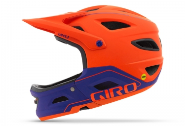casque avec mentonniere amovible giro switchblade mips orange violet m 55 59 cm