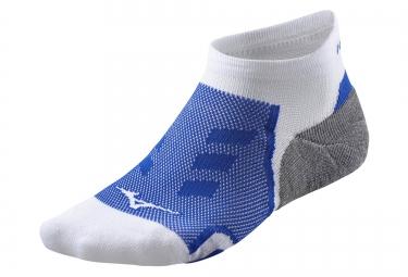 paire de chaussettes basses mizuno drylite race blanc bleu 35 37