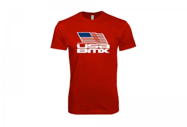 t shirt usa bmx flag on stacked rouge m