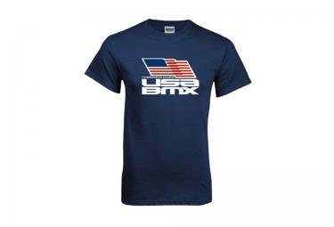 T-Shirt USA BMX FLAG ON STACKED Bleu