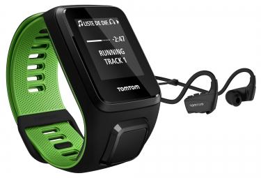 Montre GPS TOMTOM RUNNER 3 CARDIO + MUSIC + CASQUE BLUETOOTH Bracelet Large Noir Vert