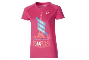 T-Shirt Femme ASICS Marathon de Paris Rose