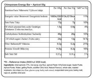 CHIMPANZEE Barra energética 100% natural Albaricoque 55g VEGETARIANA