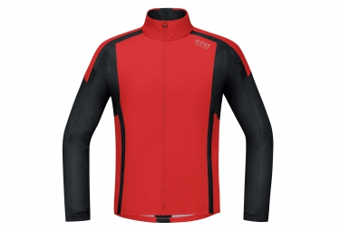 Maillot manches longues soft shell gore running wear air windstopper rouge noir xl