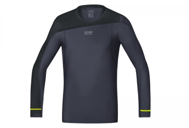 maillot manches longues gore running wear fusion gris noir xl