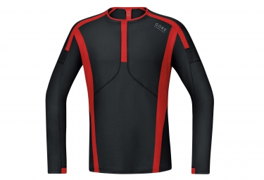 maillot manches longues gore running wear air noir rouge xl