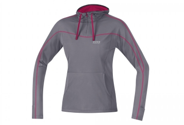 maillot a capuche femme gore running wear essential lady gris rose s