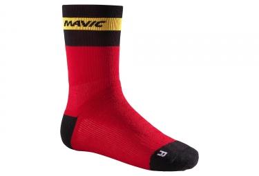 Chaussettes mavic ksyrium elite thermo rouge noir jaune 35 38