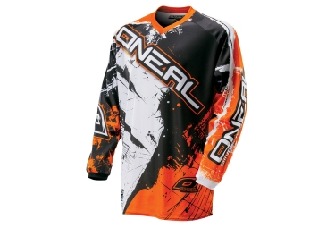 maillot manches longues enfant oneal element shocker noir orange kid l