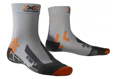 Paire de chaussettes x socks trek outdoor gris orange 35 38