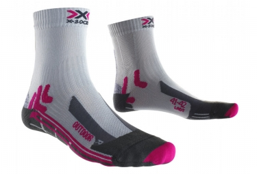 Paire de chaussettes x socks trek outdoor gris rose 35 36