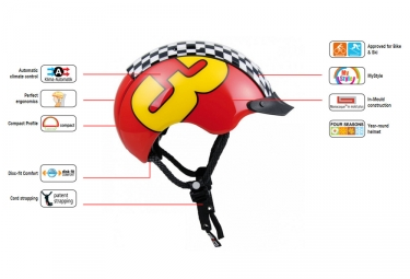 casque enfant casco mini generation rouge jaune 44 50 cm