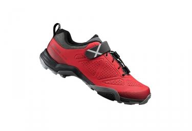 paire de chaussures vtt shimano mt500 rouge 42