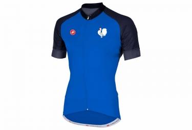maillot manches courtes castelli marathon equipe de france bleu m