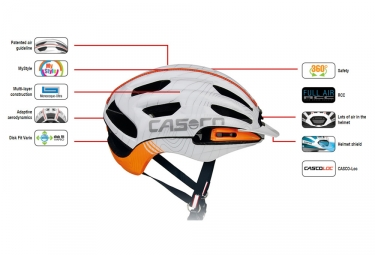 casque casco full air rcc blanc orange m 56 59 cm