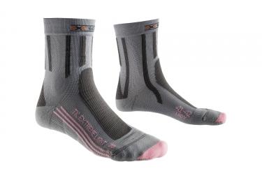 paire de chaussettes femme x socks extreme light gris rose 39 40