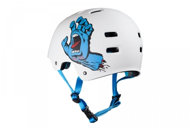 casque bol bullet santa cruz screaming hand blanc mat l xl 58 61 cm