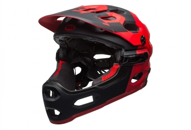casque integral bell super 3r rouge noir mat l 58 62 cm