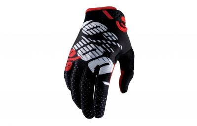 Gants Longs 100% Ridefit Noir Rouge