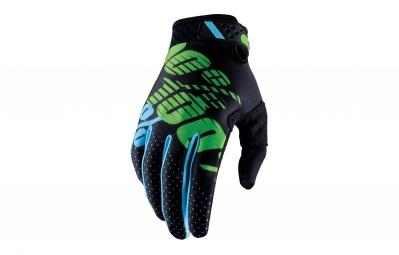 Gants Longs 100% Ridefit Noir Vert