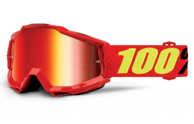 100% Accuri Saarinen Goggle Red Frame Mirror Red Lens
