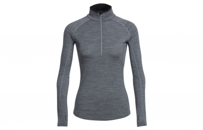 Icebreaker maillot manches longues femme zone ls half zip gris xs