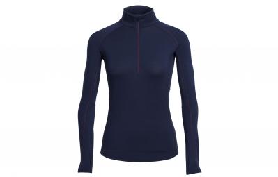 icebreaker maillot manches longues femme zone ls half zip bleu xs