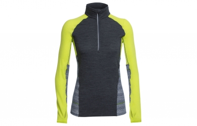 maillot manches longues icebreaker femme comet gris jaune xs