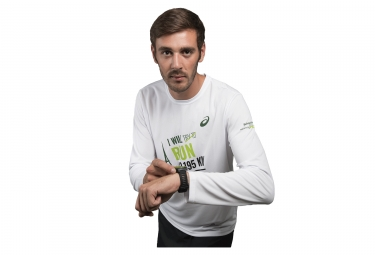 T-Shirt Manches Longues ASICS Schneider Marathon de Paris 2017 Blanc Edition limitée