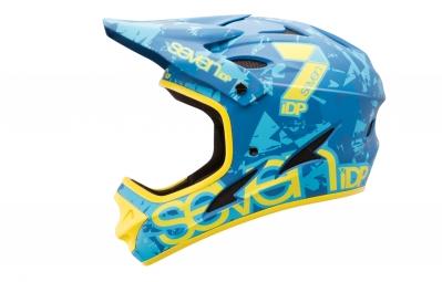 Casque Intégral Seven M1 Bleu Camo Jaune