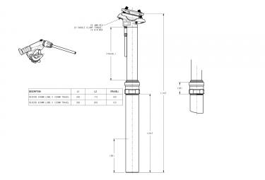Tige de Selle Télescopique ROCKSHOX REVERB STEALTH Remote Matchmaker Droit Débattement 150mm