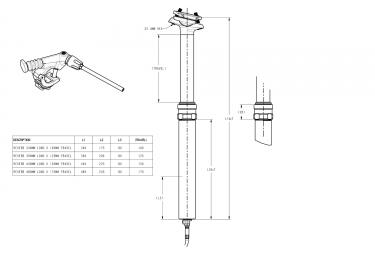 Tige de Selle Télescopique ROCKSHOX REVERB STEALTH Remote Matchmaker Gauche Débattement 125mm