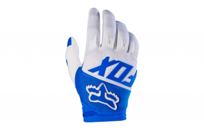 gants longs fox dirtpaw race blanc bleu l