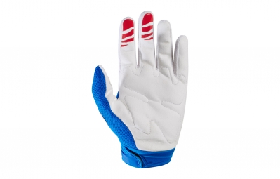 gants longs fox dirtpaw race blanc bleu s