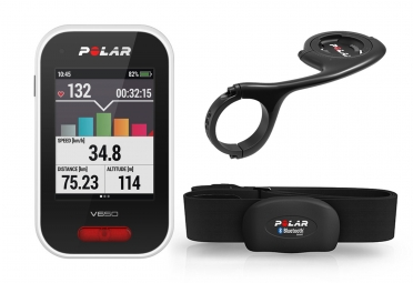 Kit Compteur GPS POLAR V650 HR Noir avec Cartographie + Support Déporté OFFERT