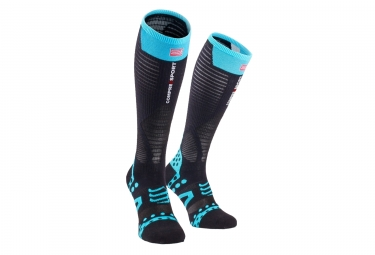 paire de chaussettes compressport ultralight racing noir bleu t2