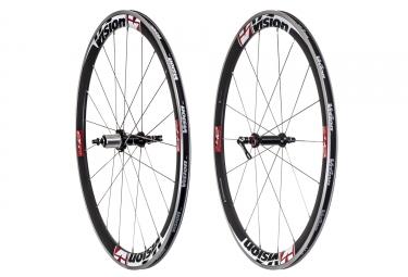 paire de roues vision trimax t42 pneu corps shimano sram noir rouge