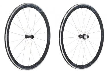 paire de roues vision trimax t42 pneu corps shimano sram noir gris