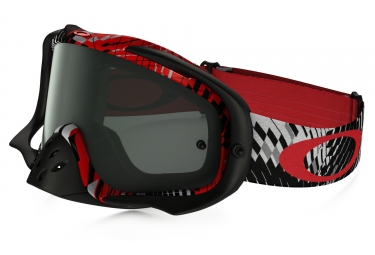 masque oakley crowbar mx podium check rouge noir fume ref oo7025 21