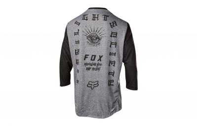 maillot manches 3 4 fox indicator gris noir m