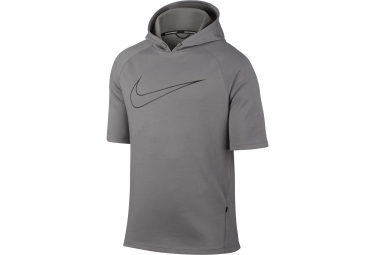 Sweat manches courtes a capuche nike running gris l