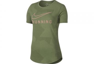 maillot femme nike dry running vert l