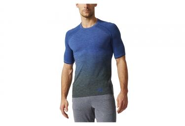 Maillot manches courtes adidas running primeknit wool dip dye bleu gris l