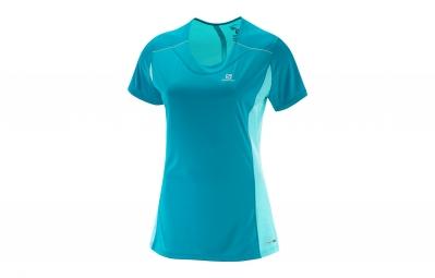 maillot manches courtes femme salomon agile bleu xs