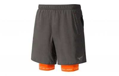 short 2 en 1 mizuno mujin square 7 5 gris orange s